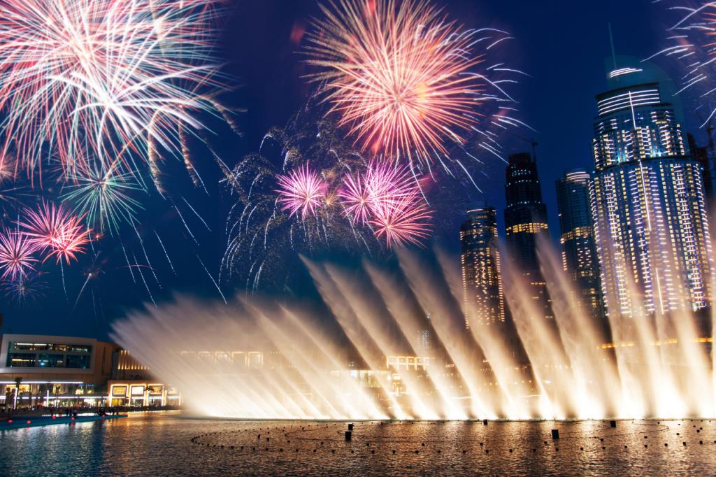 Fuente de Dubai frente a Burj Khalifa
